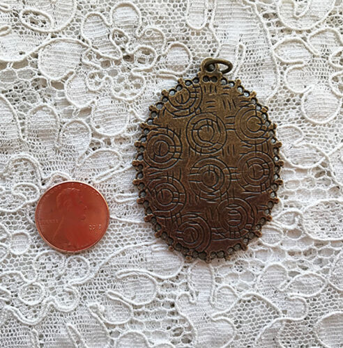 MOTHER AND CHILD Glass Dome PENDANT Vintage KLIMT ART X Large 30x40mm Oval