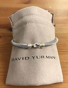 Image Is Loading David Yurman Cable Buckle Bracelet With Gold 5mm