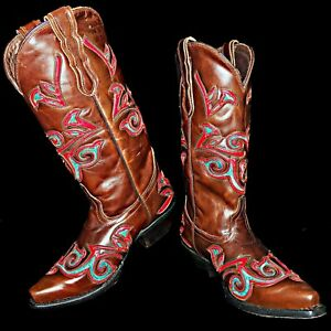 9f4f7aeb490 Details about Pecos Belle Hand Made Brown Cowboy Boots with Turquoise Red  Inlays 7B Black Star