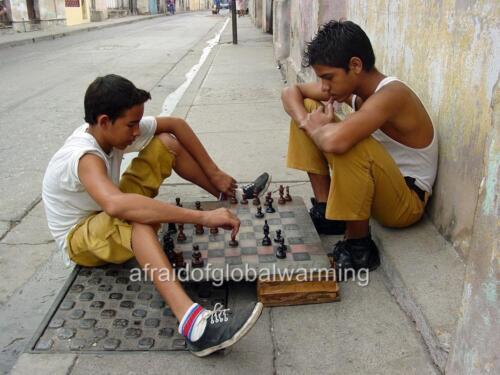 "Photo 2002 Cuba /""Boys Playing Chess on Sidewalk/"""