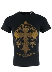 Men-039-s-Red-Justman-strass-Croix-Coupe-Slim-Manches-Courtes-T-Shirt-Top-Tee