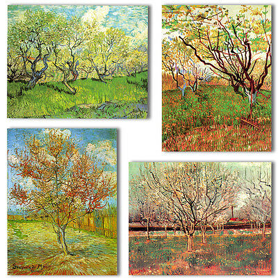 VINCENT VAN GOGH 4 Set 12x8 inch ORCHARD TREES Canvas Wall Art Picture Print