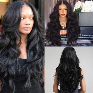 PW-WOMEN-BLACK-LONG-CURLY-WAVY-HAIR-WIG-LACE-CAP-EMULATE-SCALP-ELASTIC-HAIRPI