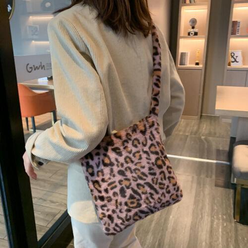 Damen Handtaschen Umhängetasche Kuriertasche Beutel Leopardenmuster Flauschiger