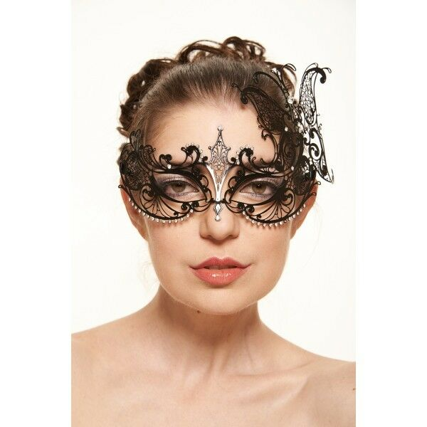 Exquisite Butterfly Inspired Venetian Laser Cut Masquerade Mask w/ Rhinestones