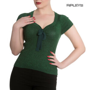 Hell-Bunny-Shirt-Rockabilly-Top-ANGETTE-Shiny-Twinkle-Dark-Green-All-Sizes