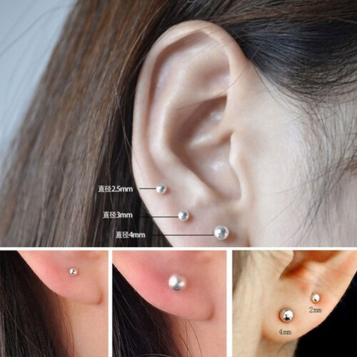 Women 925 Silver Ear Stud Round Earrings Ear Pin Fashion Piercing Jewelry Gift