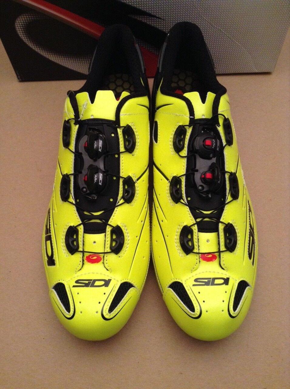 Sidi Shot Glow Yellow Carbon Cycling shoes White US 10.5 New