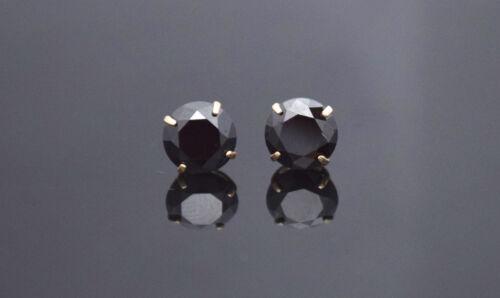 14K Solid Yellow Gold Black Round  Diamond Screw Back Stud Earrings 4 ct