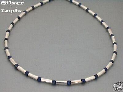 Edelstahl Kette Collier Halskette Lapislazuli Lapiz Herren Surfer blau Silber