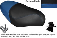 BLACK & ROYAL BLUE CUSTOM FITS PGO RODOSHOW 50 DUAL LEATHER SEAT COVER ONLY