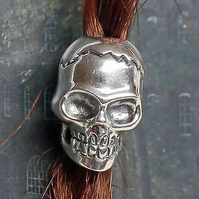 Neu Bart Perle Bartperle Bartschmuck 925silber D4,6mm Skull Schädel Biker +gummi