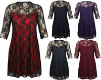 LADIES PLUS SIZE FLORAL LACE DETAIL KNEE LENGTH GOING OUT PARTY DRESS 12-26 NEW