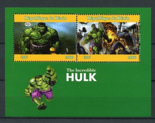 Benin 2017 MNH The Incredible Hulk Marvel Superheroes 2v M/S Comics Stamps