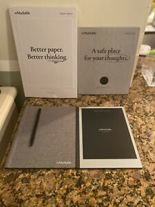 reMarkable 2 Bundle: Tablet, Gray Polymer Weave Book Folio, Marker Plus