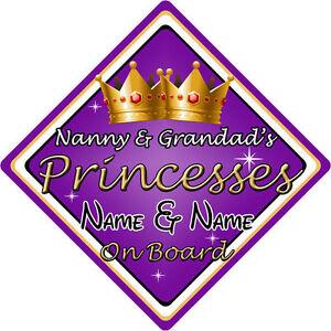 Personalised Baby On Board Car Sign ~ Nanny /& Grandad/'s Princess New Pink!!