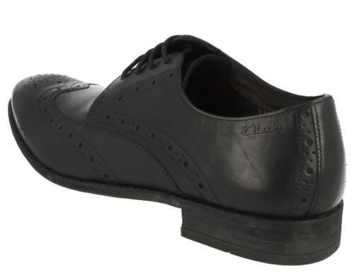 CLARKS Chart Limit Mens Black leather Brogues