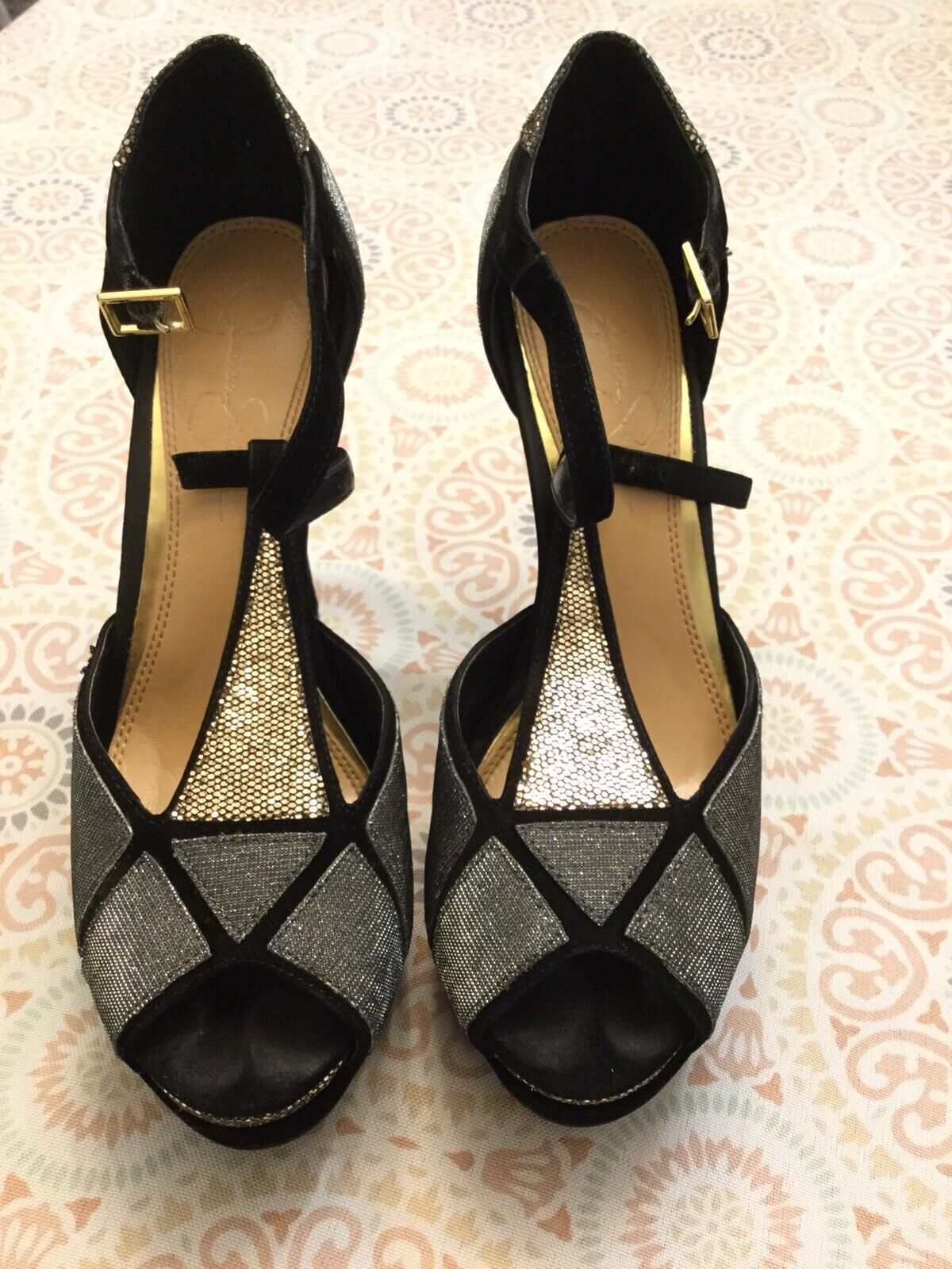 Jessica Simpson Wedge Heels Black Velvet gold Silver Sz. 8
