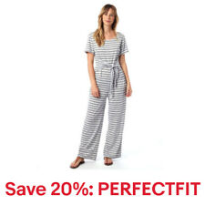 Alternative Apparel Tie Waist Striped Eco-Jersey Jumpsuit