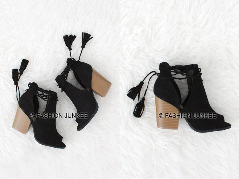 BLACK CUTOUT BOOTIES Lace Up Shoes Suede Heels Boots Ankle Boho Indie 5.5-10
