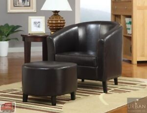 Fine Details About Modern Faux Leather Barrel Chair Ottoman Set Brown Seat Living Room Furniture Creativecarmelina Interior Chair Design Creativecarmelinacom