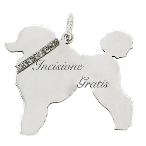 Ciondolo cane barbone mm 25x27 in argento 925 rodiato -incisione gratis