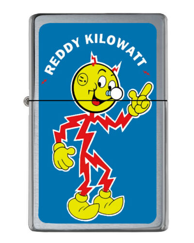 Reddy Kilowatt Flip Top Lighter Brushed Chrome with Vinyl Image.