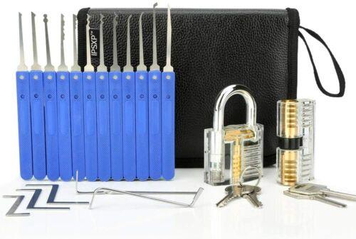 Set di grimaldelli e lucchetto e serratura trasparente per fabbro principiante