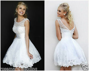 Image Is Loading New White Lace Mini Wedding Dress Bridal Gown