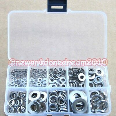 260x Stainless Steel Washer Spring Washer Assortment Set M2.5 M3 M4 M5 M6 M8 M10