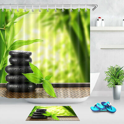 "72x72/"" Vintage Flowers Polyester Fabric Shower Curtain Bathroom Mat 12Hook 1042"