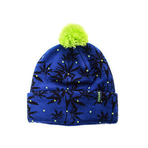 new style 0e4bd aebdf ... promo code for image is loading no bad ideas leafy cuffed pom knit hat  159ff be630