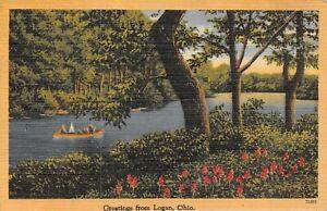Vintage Greetings From Logan Ohio River Canoe  Linen Postcard 1945