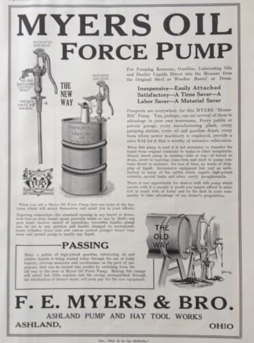 1920 AD XA6MYERS OIL FORCE PUMP. F.E. MYERS CO. ASHLAND, OHIO