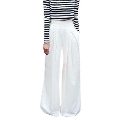 SEXY Women's Casual Summer Career Wide Leg Trousers High Waist Long Loose Pants