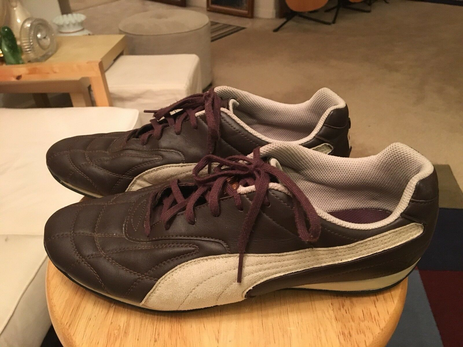 Puma Brown/Beige Trim Men's US11.5 Leather Athletic Sneakers Shoes