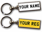 PERSONALISED NUMBER PLATE KEYRING Custom Gift Large Quality Chrome Double Sided