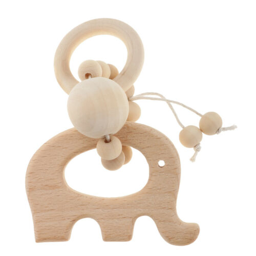 Wooden Natural Food Grade Silicone Baby Teether Teething Ring Bracelet Toys Gift
