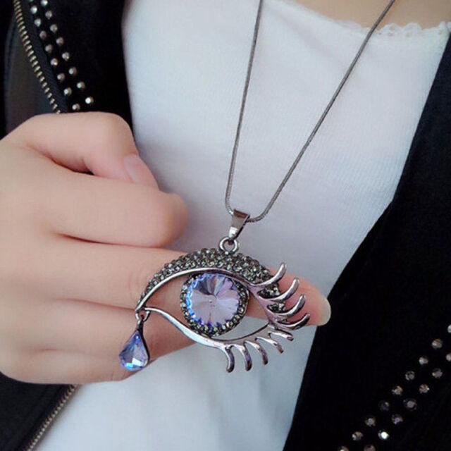 Faceted crystal oval tear drop bead eye shape design link necklace d