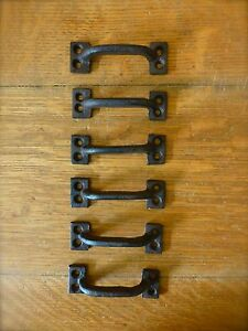 "6 BROWN 3.5"" MINI DRAWER DOOR CABINET PULLS HANDLES RUSTIC ANTIQUE-STYLE IRON"