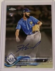 Details About 2018 Topps Chrome Baseball Hunter Wood On Card Auto Rc Card Ra Hw Rays
