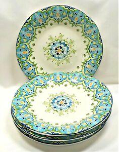 Pier-1-Celeste-Dinner-Plates-x4-Blue-Green-Yellow-Floral-Scrolls