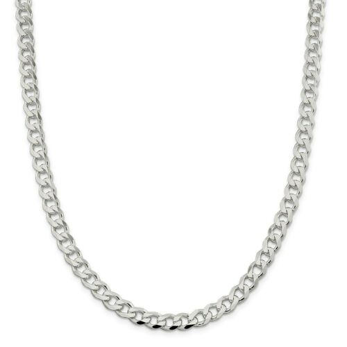 """30/"""" Details about  /Sterling Silver Solid Plain 7.5mm Curb Link Chain w// Lobster Clasp 18/"""""""