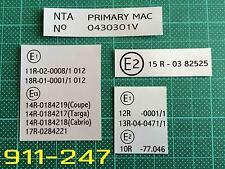 PORSCHE 911 930 carrera sc 3.2 paese tipo Vin Codice etichette