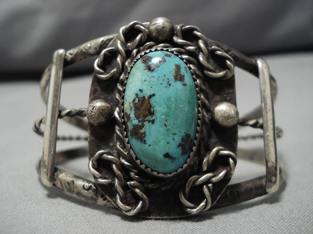 Molto Raro verde Basalto Turchese Vintage Navajo argentoo Sterling Bracciale Bracciale Bracciale dd7ad4