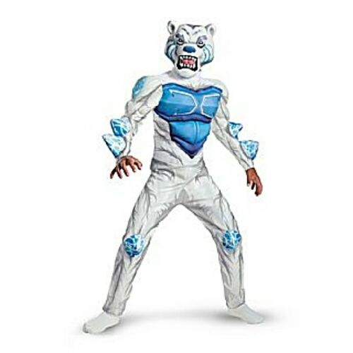 Boys Child Monsuno Deluxe Muscle Chest 3D Spikes White Lock Lion Costume Outfit