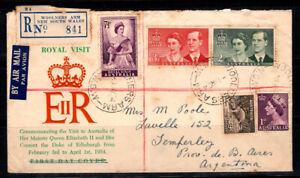 Australia 1954 lettera 100% USATO Argentina, famiglia reale