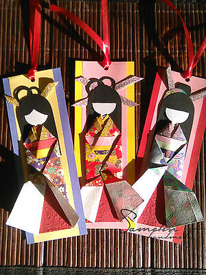 Origami geisha bookmark handcraft handmade japanese collectible doll in kimono