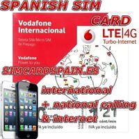 SPANISH PREPAID VODAFONE INTERNATIONAL 4G LTE SIM CARD PAYG INTERNET SPAIN