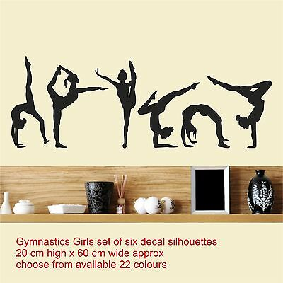 set of six Gymnastics Girls / Wall Art Vinyl Decal Stickers